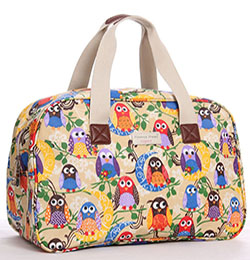 Colourful Owls Oilcloth Holiday Bag