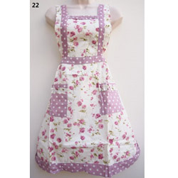 22 Lilac Polka Dot Rose Country Style Apron