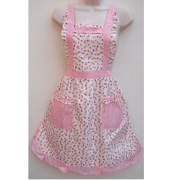 98 Hot Pink Mini Flowers Vintage Style Apron