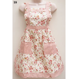 59 Pink Gingham Roses Apron