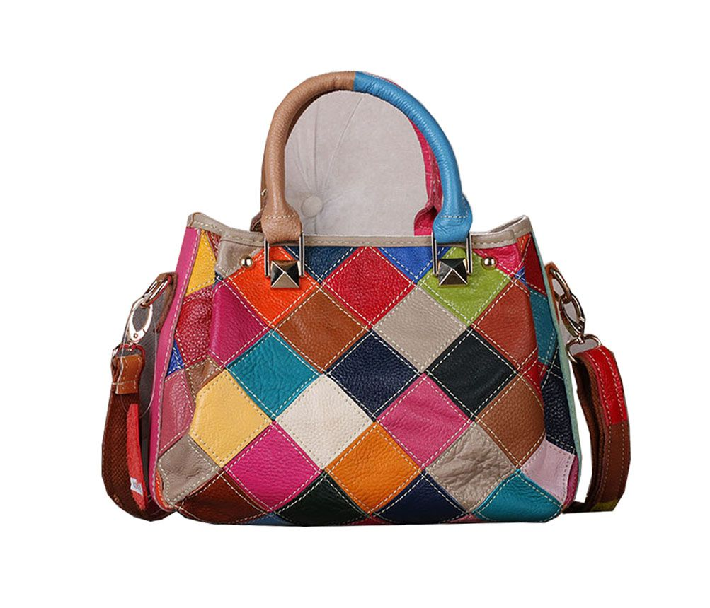 Multicolour Patchwork Real Leather Small Zip Bag Handbag Messeng