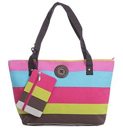 Rainbow Stripe Button Tote with Matching Purse