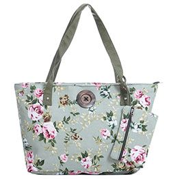 Green Rose Tote Bag with Matching Wallet