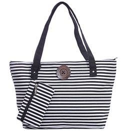 Black White Stripe Tote Bag With Matching Purse