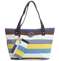 Multi Yellow Blue Stripe Button Tote With Matching Purse