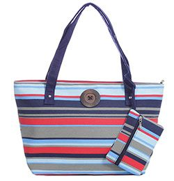 Red Navy Stripe Canvas Tote with Matching Purse