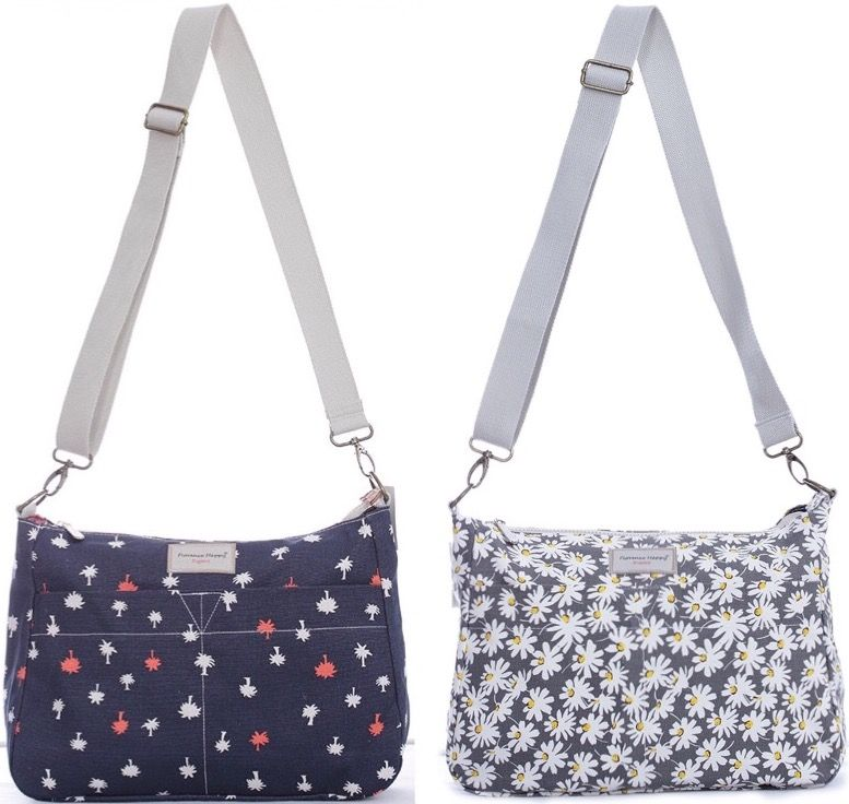 Reversible Zip Messenger Daisy / Palm Tree