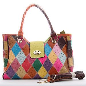 Patchwork Ostrich Leather Bag