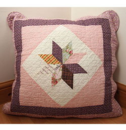 "22"" x 22"" Purple Gingham Patchwork Cushion Cover"
