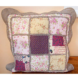 "18"" x 18"" Brown Floral Patchwork Cushion Cover"