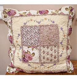 "18""x18"" Fuchsia Embroidered Patchwork Cushion Cover"