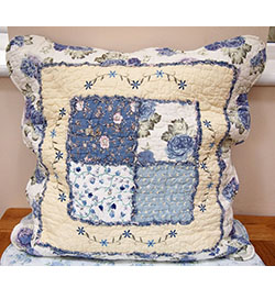 "18""x18"" Blue Embroidered Patchwork Cushion Cover"