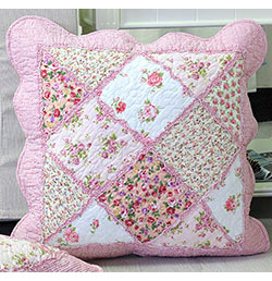 "18""x18"" Pink Floral Patchwork Cushion Cover"