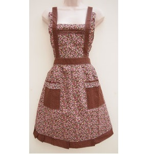 103 Dotty Brown Roses Apron