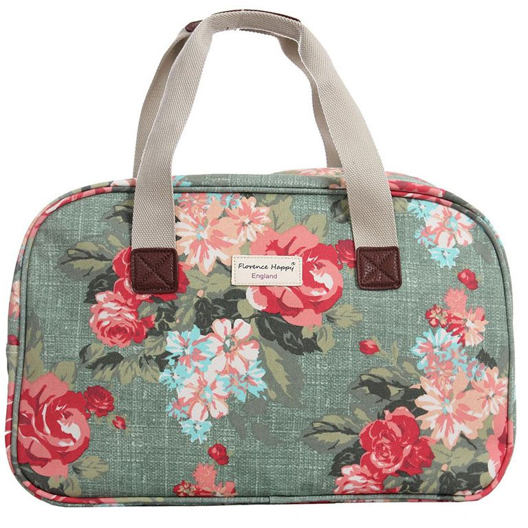 Antique Flowers Oilcloth Holiday Bag