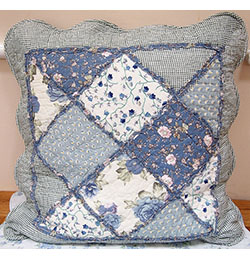 "18""x18"" Blue Floral Gingham Patchwork Cushion Cover"