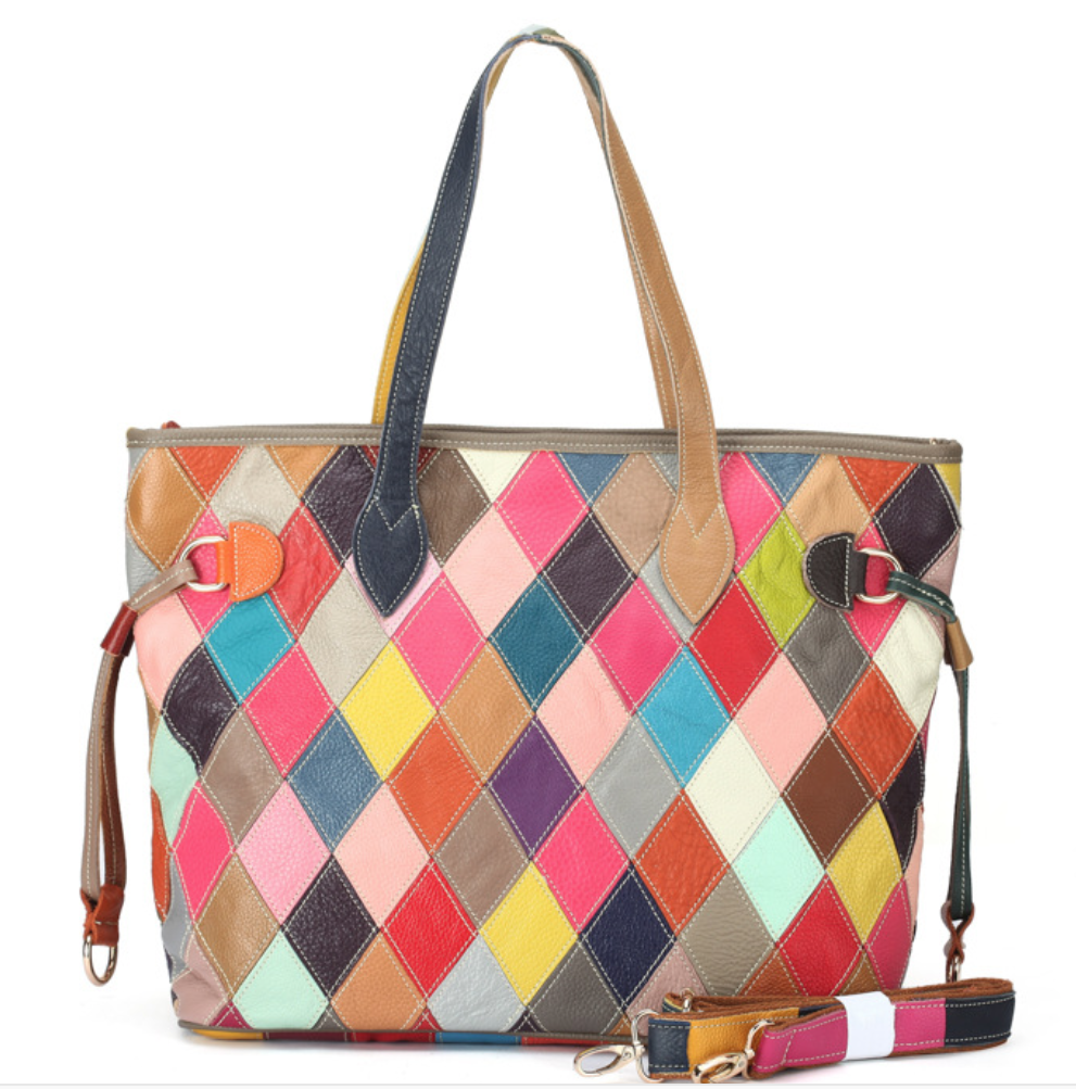 Patchwork Multicolour Leather Tote Bag